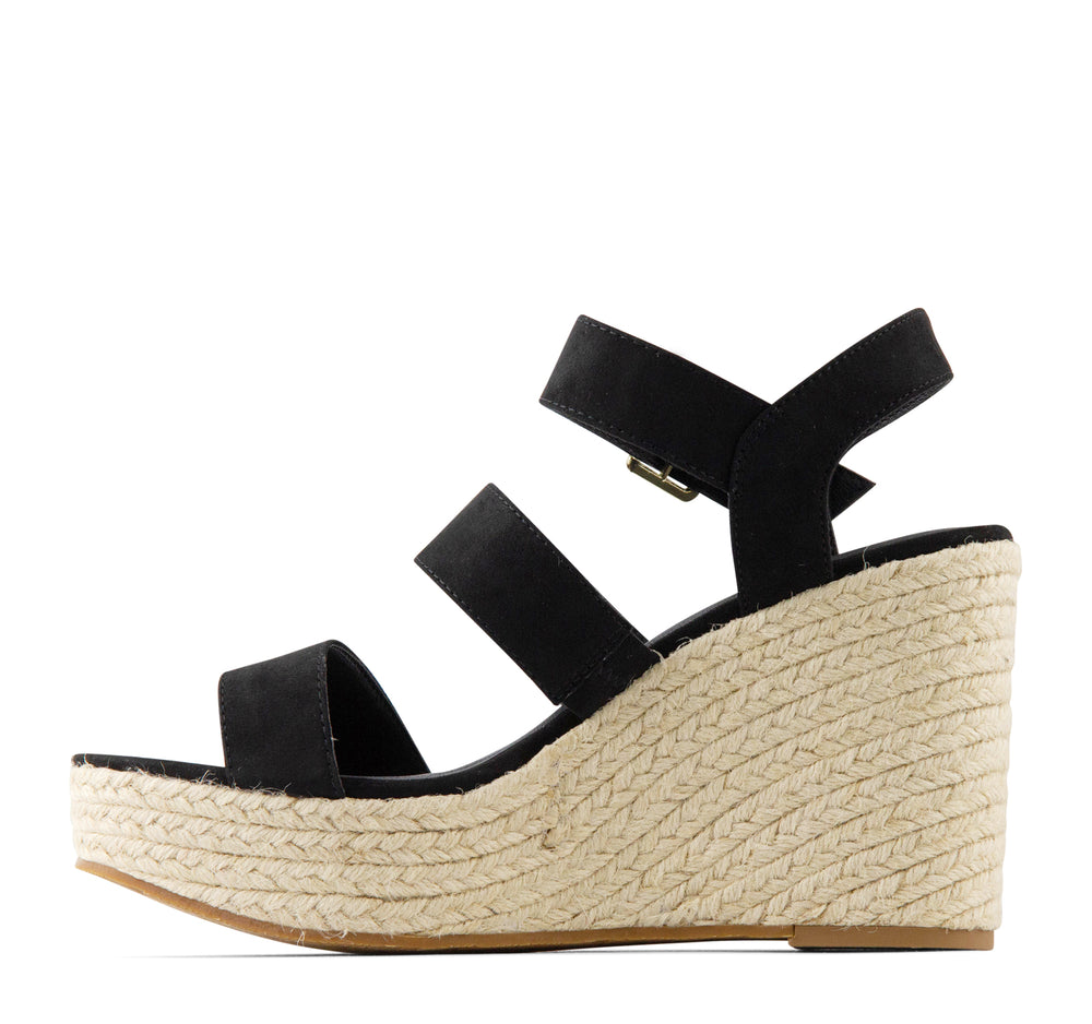BC Footwear Snack Bar Espadrille Women's Wedge in Black - BC Footwear by Seychelles - On The EDGE