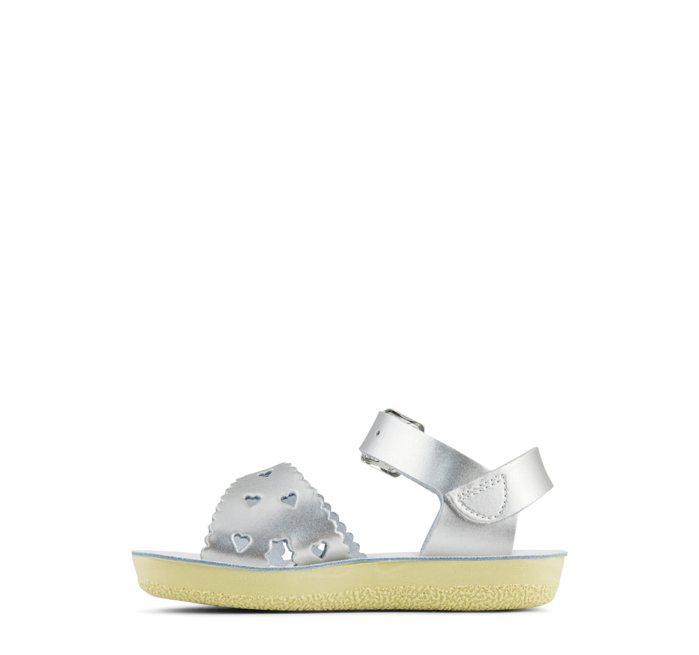 Salt Water Sweetheart Girls' Sandal in Silver - Hoy - On The EDGE
