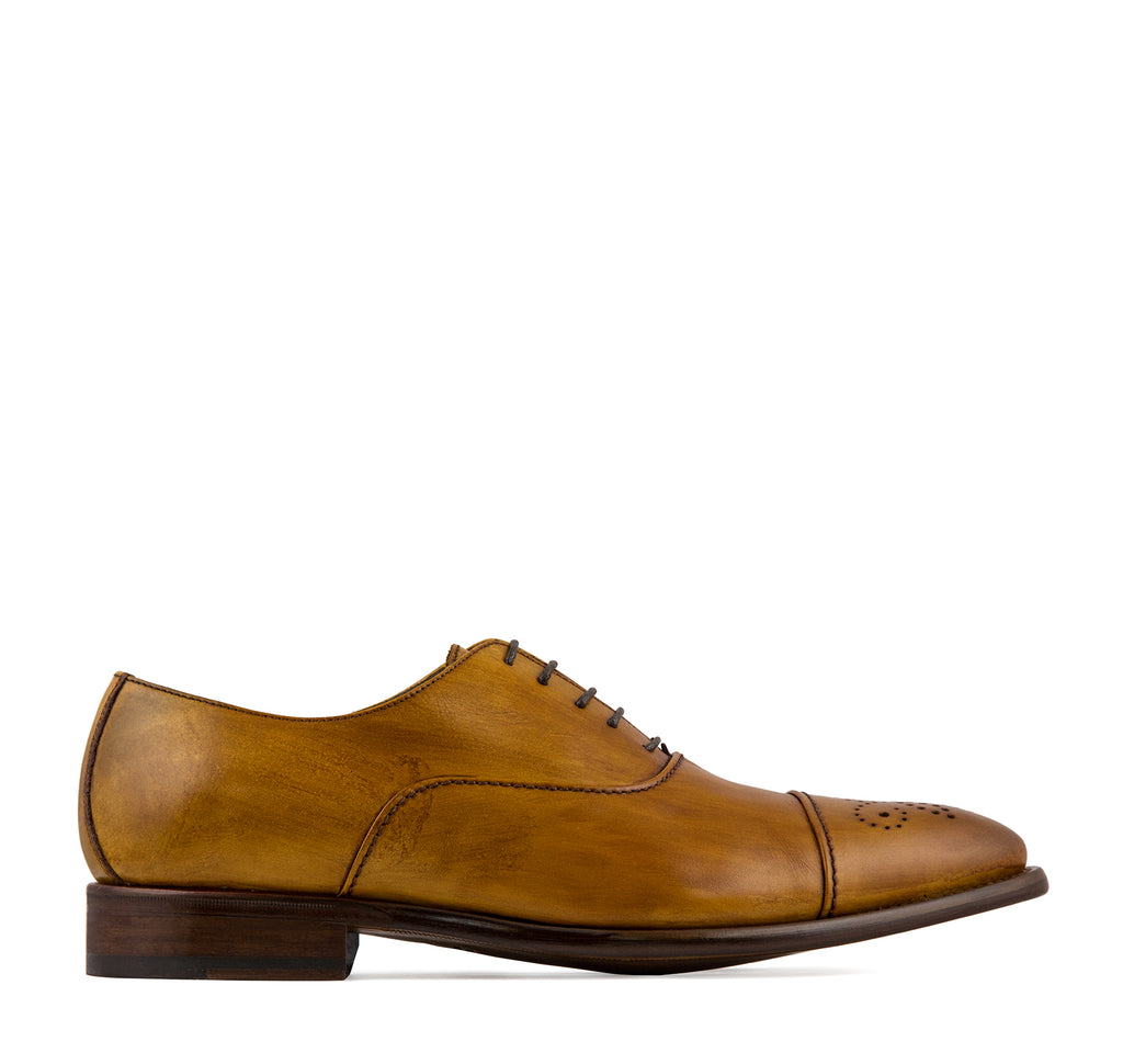 Calzoleria Toscana Taormina 2361 Men's Oxford in Caramel - Calzoleria Toscana - On The EDGE