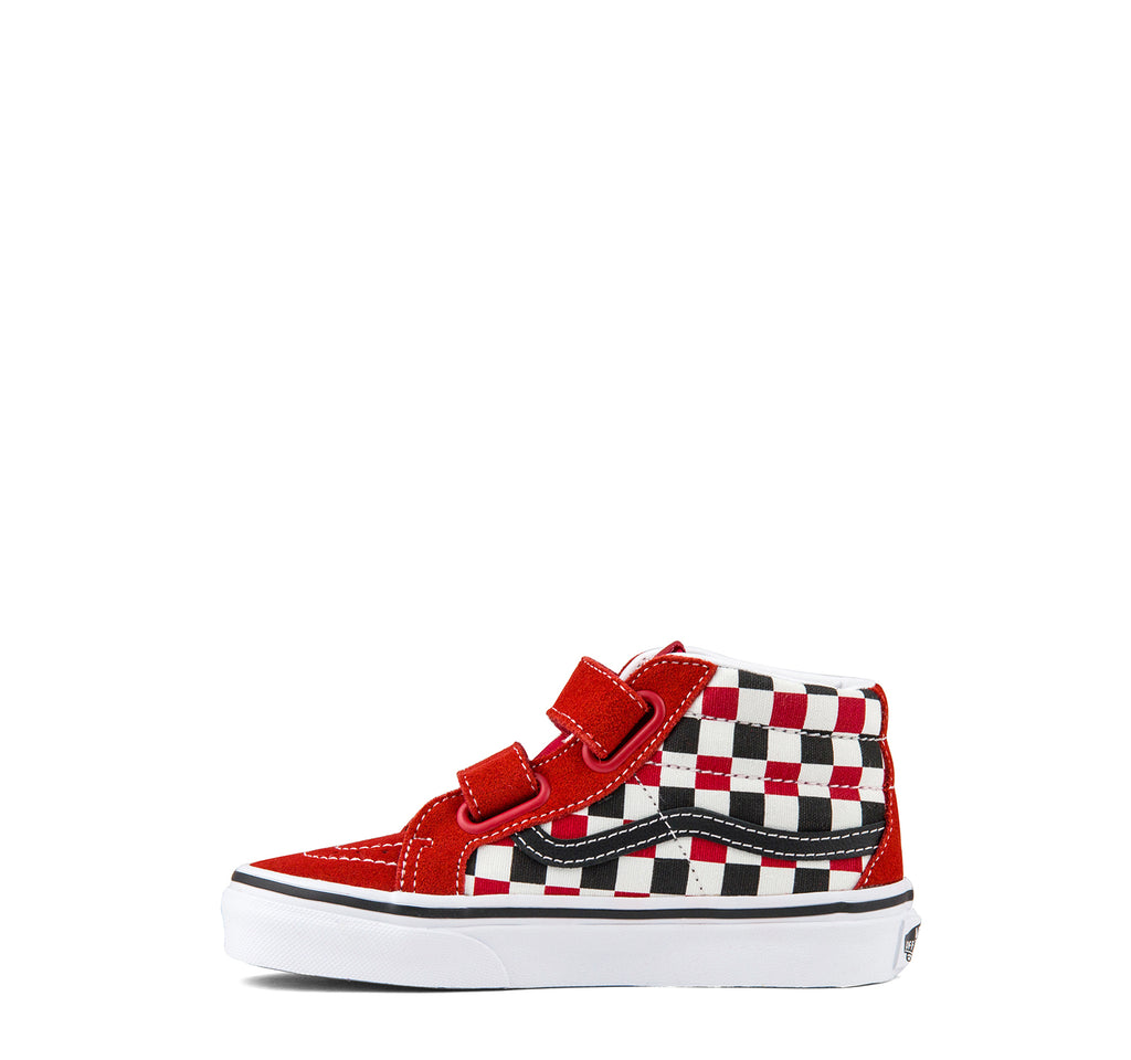 Vans Sk8-Mid Reissue V Kids in Racing Red Checkerboard - Vans - On The EDGE