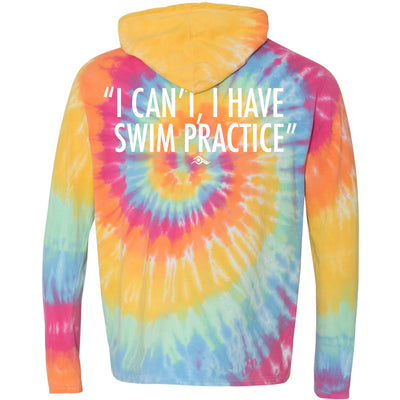 I Can't, I Have Swim Practice - Tie-Dye Hooded T-Shirt - SwimWithIssues Swim Shirts, Suits and t-shirts.