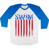 Freedom Swim 3/4 Sleeve Raglan Long Sleeve Tee - SwimWithIssues Swim Shirts, Suits and t-shirts.