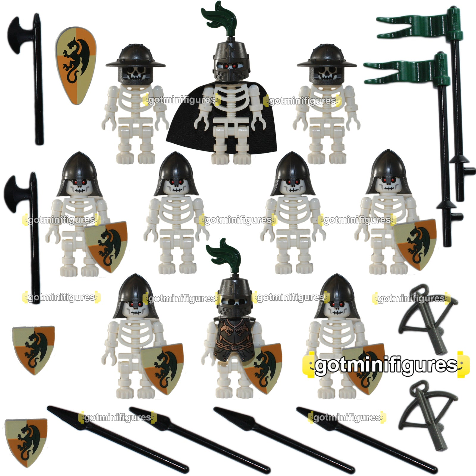 Lego Skeleton Castle Soldiers Green Knights A Minifigures X10