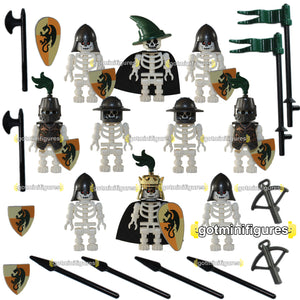 LEGO SKELETON CASTLE King,Wizard Green Knights [B] minifigures X10