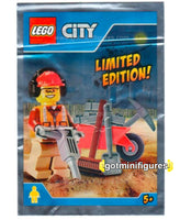 LEGO City WORKER W/ WHEELBARROW minifigure 951702 FOIL PACK