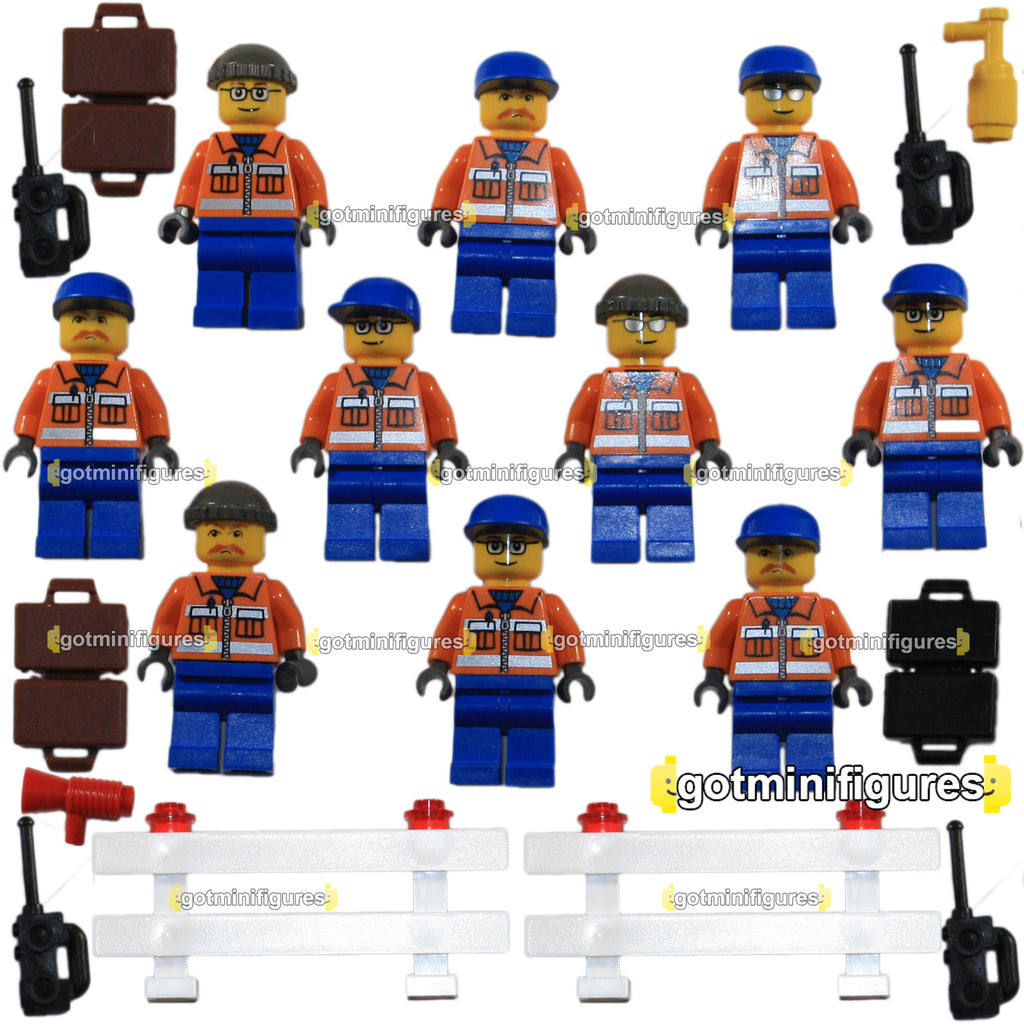 LEGO City Airport PASSENGER / CARGO PLANE Ground Crew 10x LOT minifigures