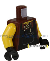 LEGO - TORSO (Black brown, Blacksmith vest, style 01) for minifigure