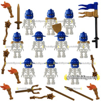 LEGO WARRIOR SKELETON Army Gold Blue minifigures X10