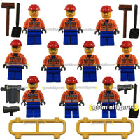 LEGO City CONSTRUCTION WORKERS orange vest Crew 10x LOT minifigures