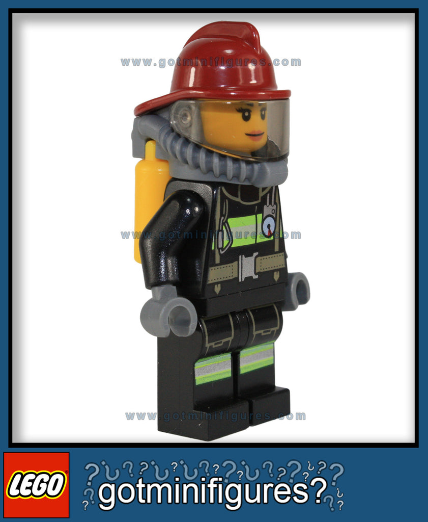 LEGO City FIRE FIGHTER 1 FEMALE w/reflective stripes [dk red helmet] minifigure