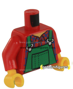 LEGO - TORSO City Farmer (Green overalls red shirt ) for minifigure