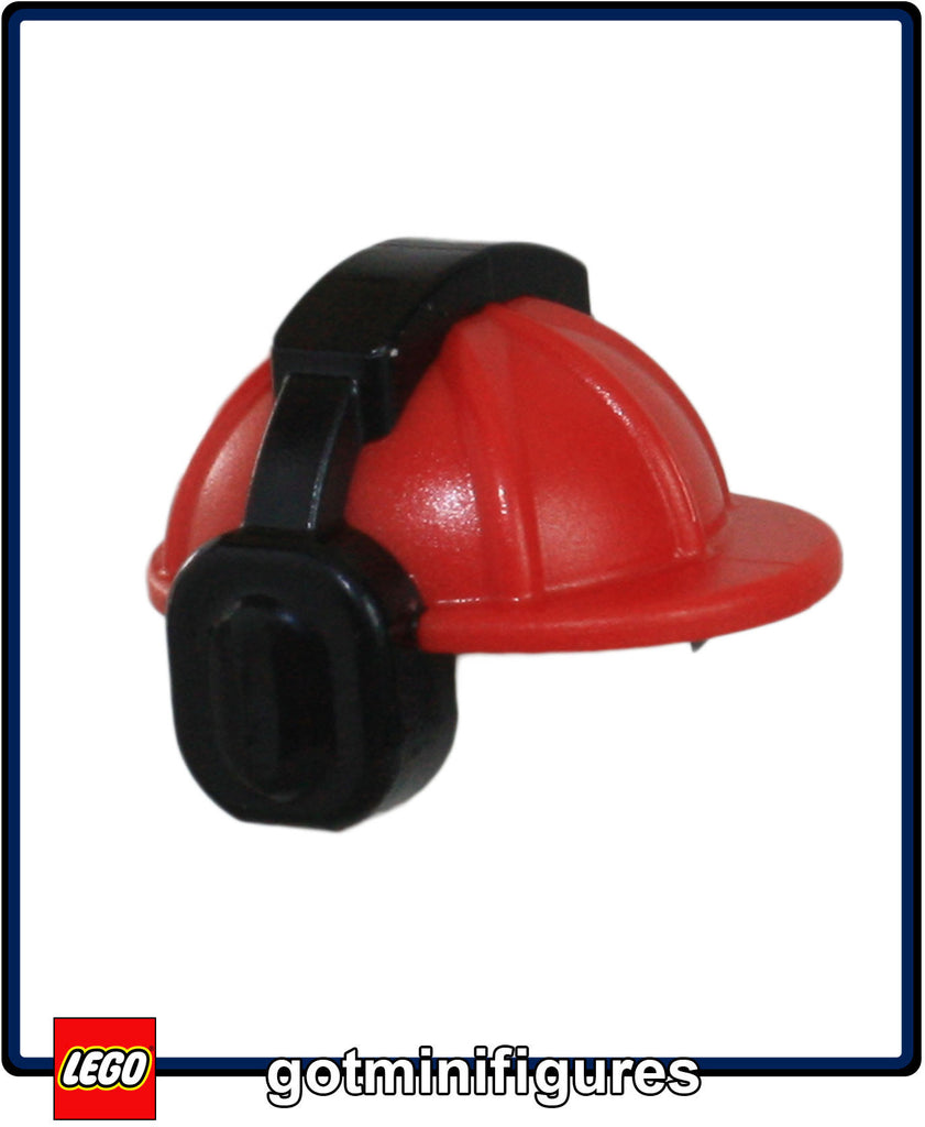 LEGO RED Hardhat w earmuffs headgear for minifigure