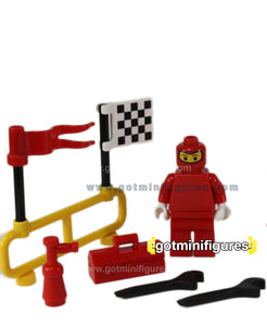 LEGO  PIT CREW SET - Racing, ferrari, checkered flag, tool box minifigure