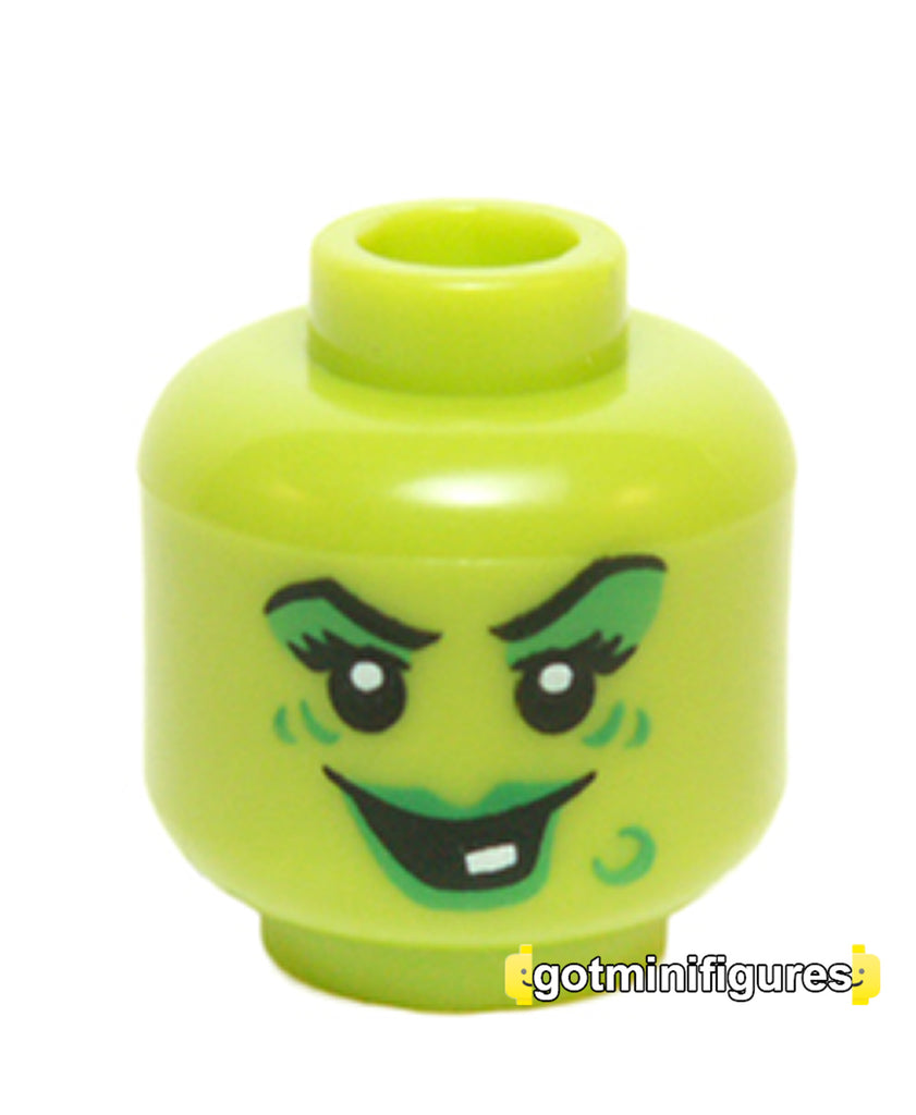LEGO Female Head (lime, one tooth, wart, Wacky Witch monsters) minifigure