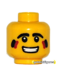 LEGO Head (yellow, red white stripes, tribal hunter series 1) for minifigure