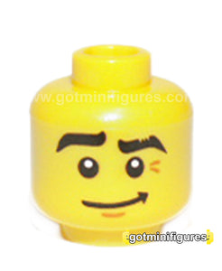 LEGO Head (yellow, crooked smile, black eye brows, dj series 8) for minifigure