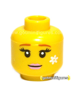 LEGO Female Head (yellow, pink lips, white flower, fairy series 8) for minifigure