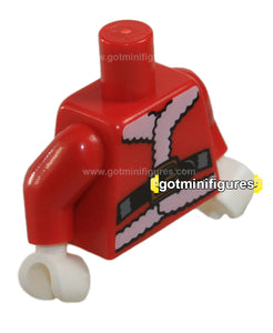 LEGO - TORSO Santa, belt (Red, white hands series 8) for minifigure