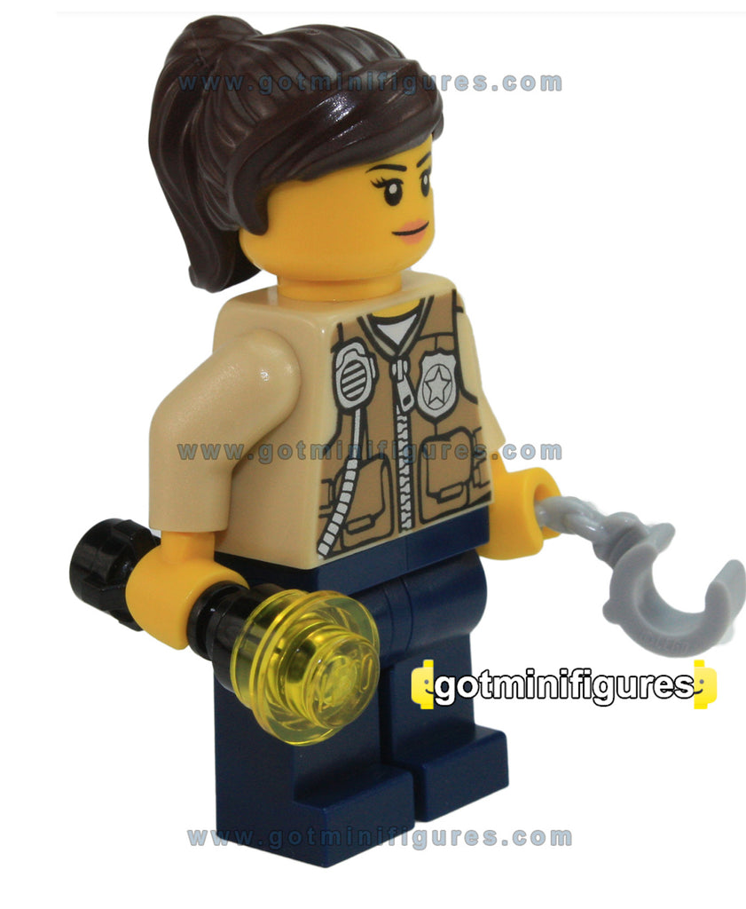 LEGO City SWAMP POLICE OFFICER FEMALE w/vest minifigure