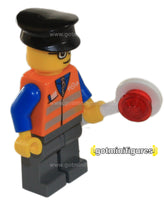 LEGO City SIGNAL TRAIN WORKER orange vest minifigure 7324