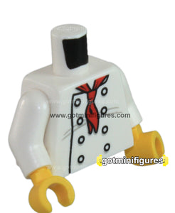LEGO - TORSO Chef 8 buttons, white, long red neckerchief for minifigure