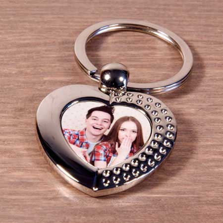 Heart Metal Photo Keyring