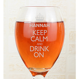 Keep Calm Wine Glass