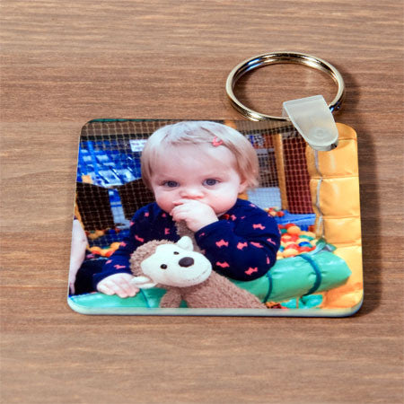 Square Plastic Photo Keyring
