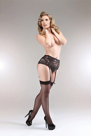 Miss Naughty Luxury Deep Lace Suspender Belt Curvy