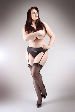 Miss Naughty Satin Wet Look Suspender Belt