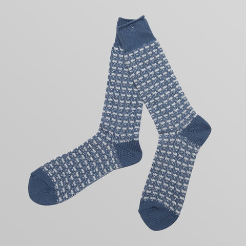 Blue Broken Stripe Cotton Socks