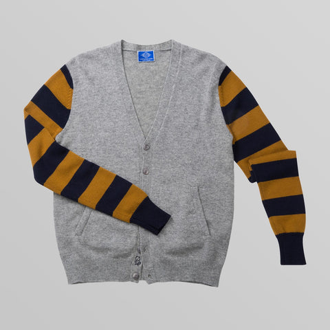 Grey Bumble Bee Striped Sleeve Cardigan
