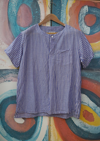 Med Shirt Blue Fine Stipe