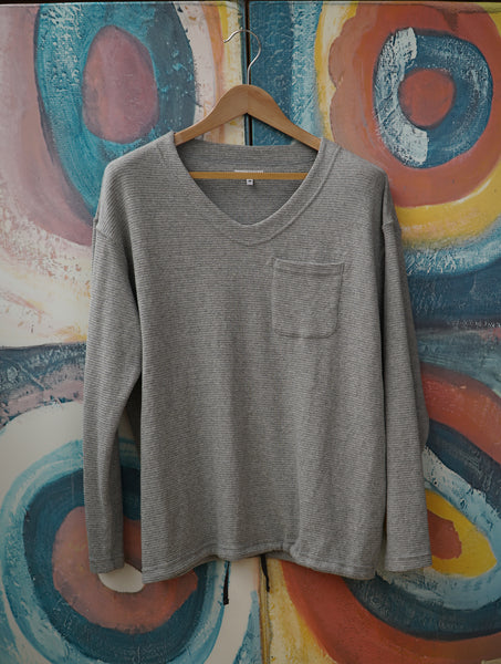Grey Cotton Thermal U Neck Pop Over