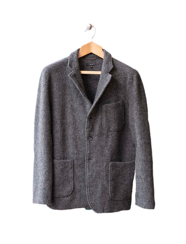 Engineered Garments Grey Boiled Wool Knit Jacket