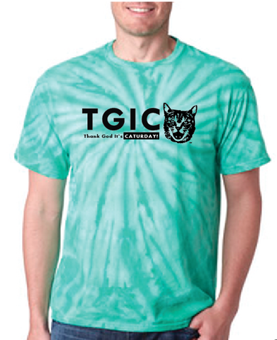 TGIC - Thank God It's Caturday Adult Tie-Dye Short Sleeve