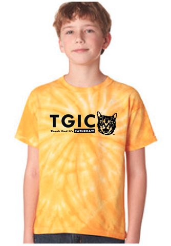 TGIC - Thank God It's Caturday Youth Tie-Dye Short Sleeve