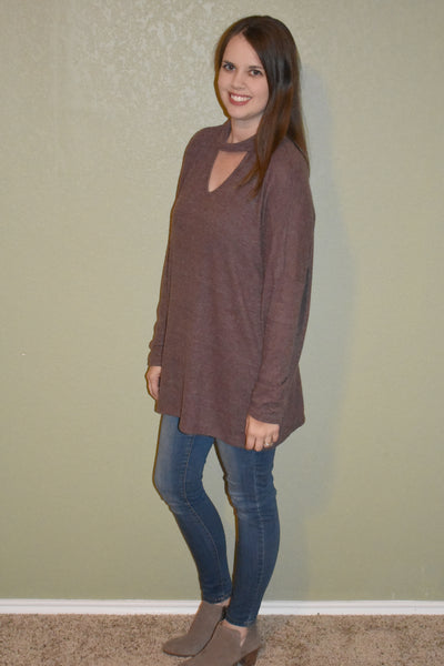 Between Us Keyhole Sweater: Brown - Lyla's Clothing