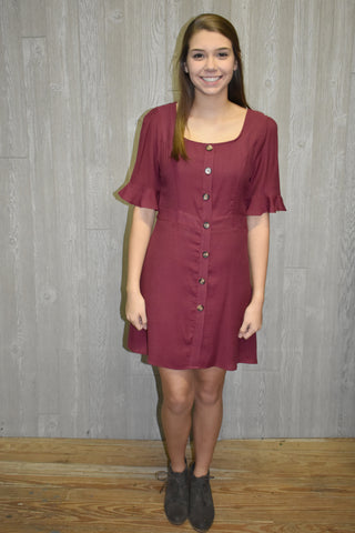 Fall Festive Burgundy Dress - Lyla's Clothing
