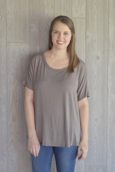 Cocoa Draped Back Top - Lyla's Clothing