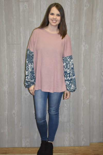 So Easy Print Sleeve Top - Blush - Lyla's Clothing