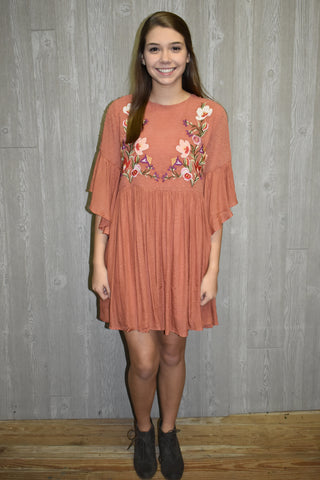 Simple Sunset Embroidered Dress - Lyla's Clothing