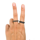 HAATHI FINE - Black Diamond Cluster Ring Thin