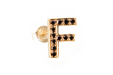 MOOD EARRING - F with Black Diamonds
