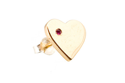 MOOD EARRING - Heart with Ruby Accent