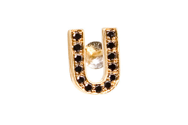 MOOD EARRING - U with Black Diamonds