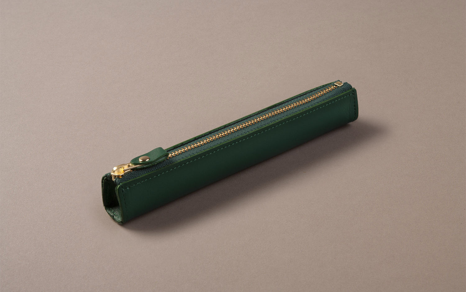 Green Leather Slim Pen Case