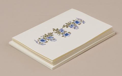 Blue Flower Card and Envelope Correspondence Set