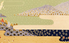 Full-panel Chiyogami Silk Screen Print, Gold Mountains