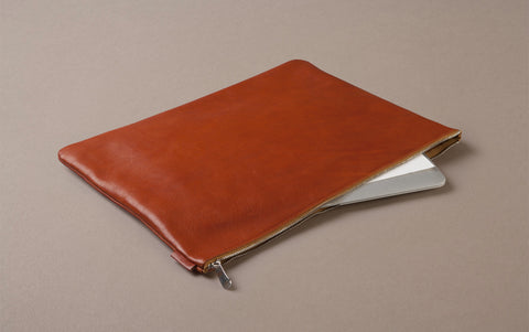 Tan Leather Document and Laptop Case